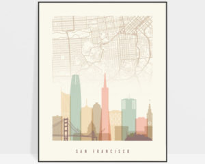San Francisco map print poster pastel cream