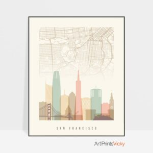 San Francisco map print poster pastel cream