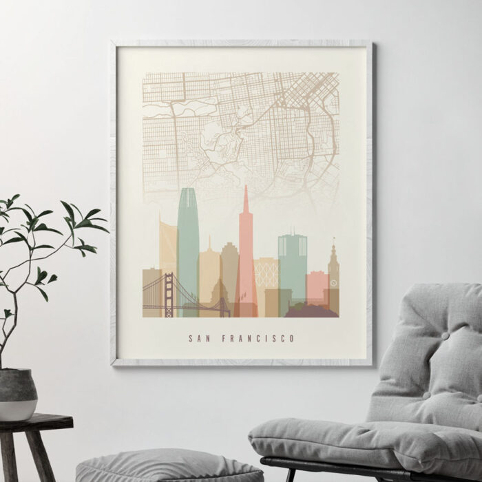 San Francisco map print poster pastel cream second