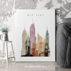 New York Canvas Art Watercolor 1 second