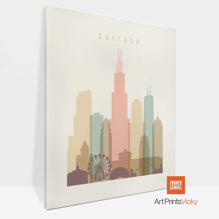 Chicago Canvas Print Pastel Cream