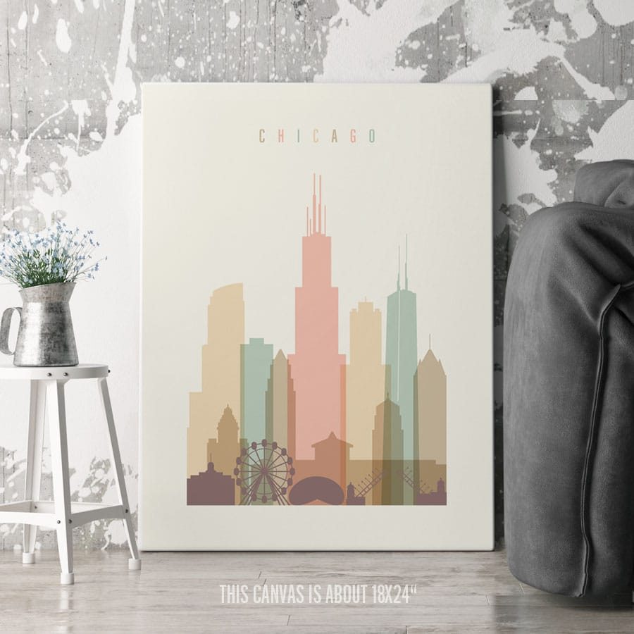 Chicago Canvas Print Pastel Cream second
