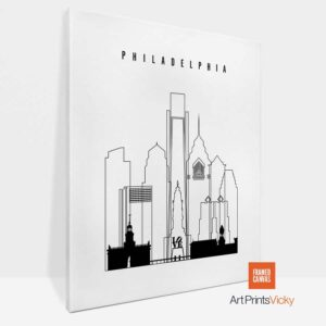 Philadelphia Canvas Art Outline
