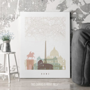 Rome Canvas Map Print Pastel White second