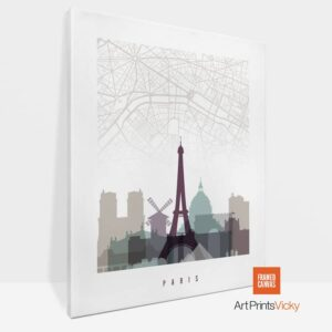 Paris Canvas Map Print Pastel 2