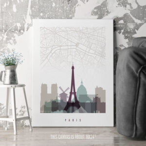Paris Canvas Map Print Pastel 2 second