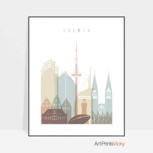 Bremen Skyline Print Pastel White