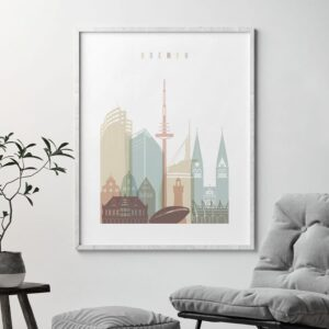 Bremen Skyline Print Pastel White second
