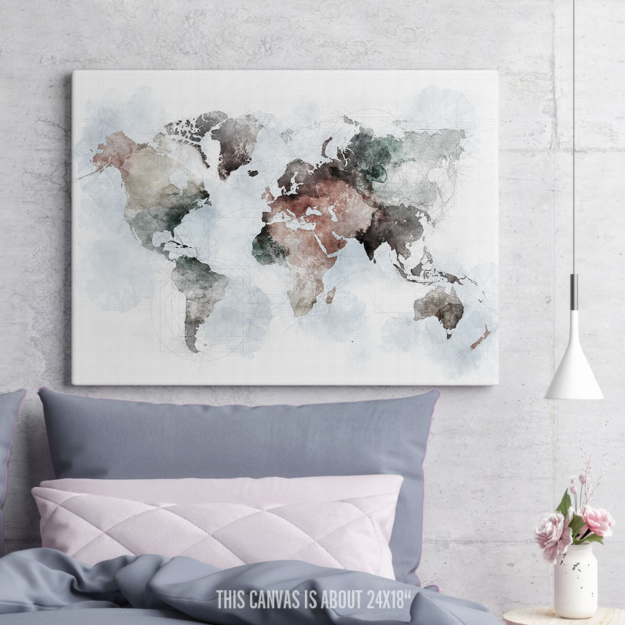 World Map Canvas Print Urban 1 second