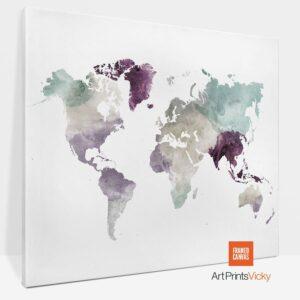 World Map Canvas Print Pastel 2