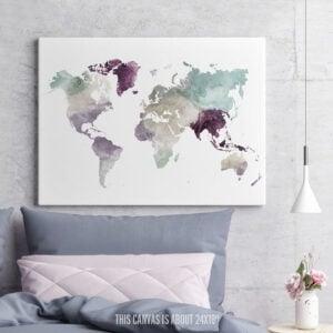 World Map Canvas Print Pastel 2 second