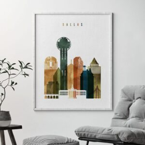 Dallas skyline print watercolor 3