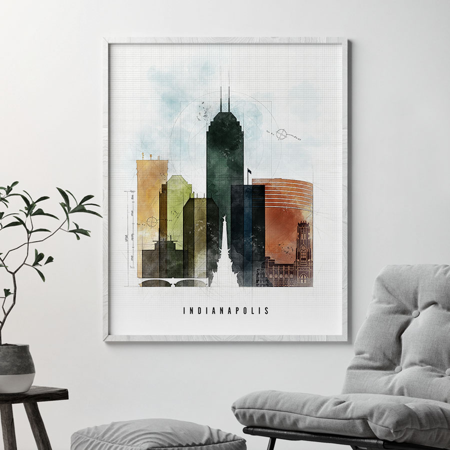 Indianapolis Skyline Poster Urban 2 second