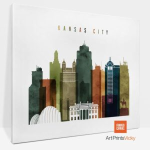 Kansas City Canvas Print Watercolor 3