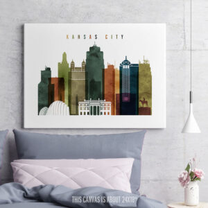 Kansas City Canvas Print Watercolor 3 second