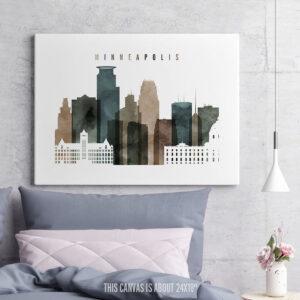 Minneapolis Canvas Print Watercolor 2 second