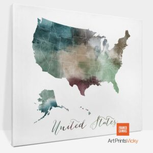 United States Map Canvas Art