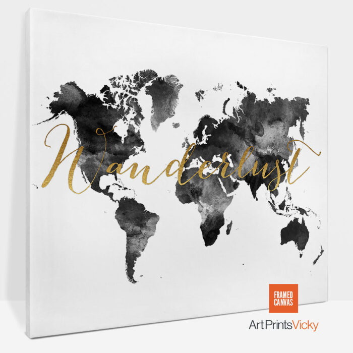 Wanderlust Map Canvas Black And White