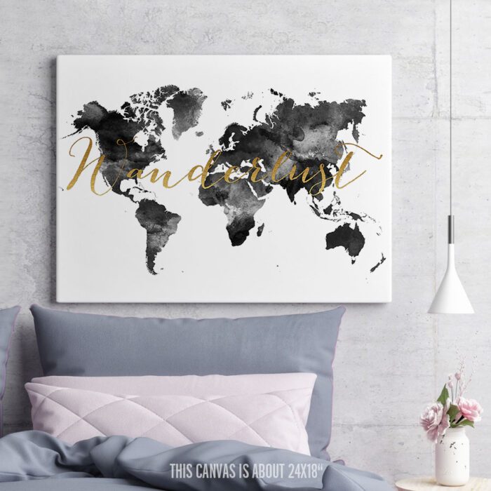 Wanderlust Map Canvas Black And White second