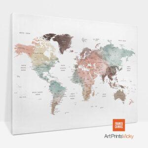 Large World Map Canvas Pastel White