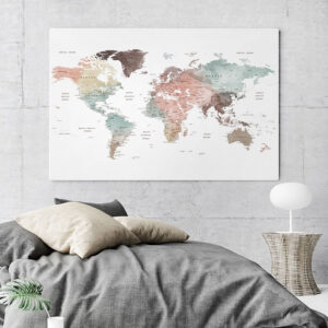 Large World Map Canvas Pastel White second