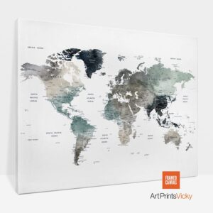 Large World Map Canvas Earth Tones 4