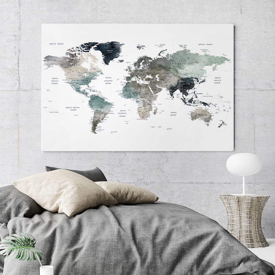 Large World Map Canvas Earth Tones 4 second