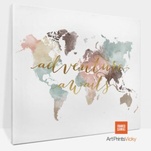 Adventure Awaits Map Canvas Pastel White