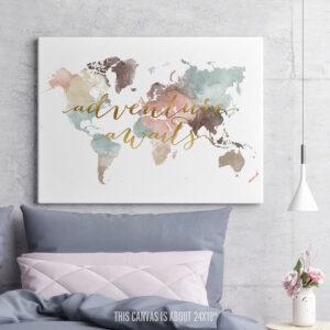Adventure Awaits Map Canvas Pastel White second