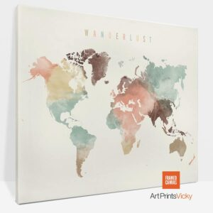 Wanderlust World Map Canvas Poster Pastel