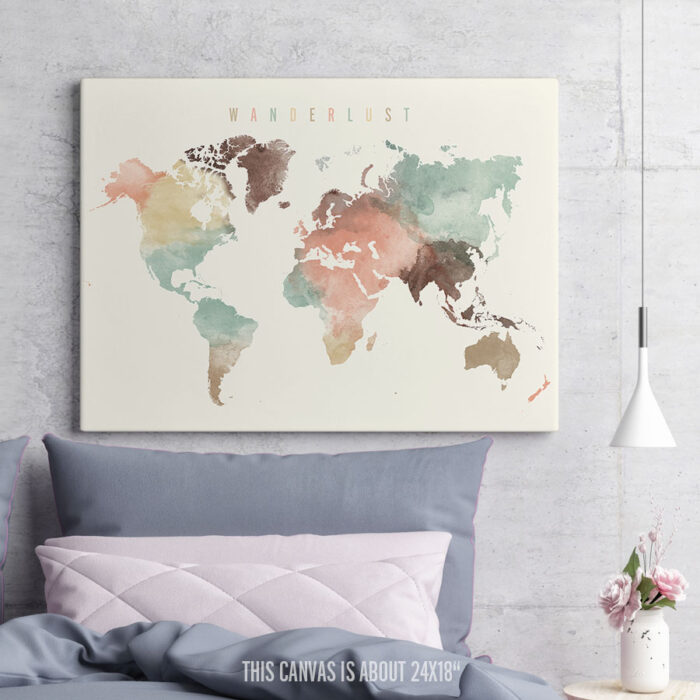 Wanderlust World Map Canvas Poster Pastel second