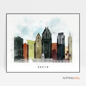 Austin City Print Urban 2 Landscape