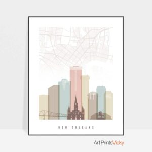 New Orleans Map Print Pastel White