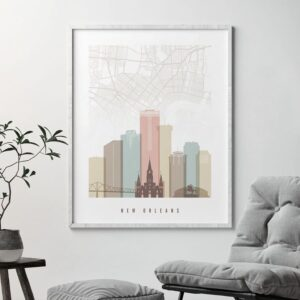 New Orleans Map Print Pastel White Second