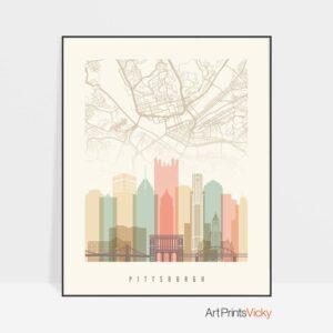 Pittsburgh Map Print Pastel Cream