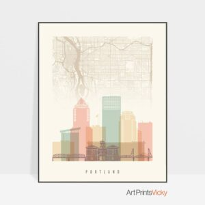 Portland City Map Print Pastel Cream
