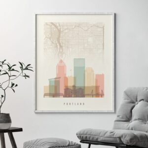 Portland City Map Print Pastel Cream Second