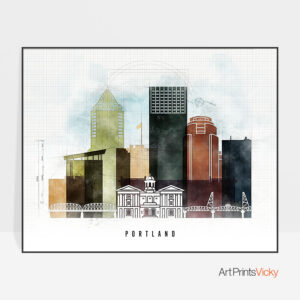 Portland City Print Urban 2 Landscape