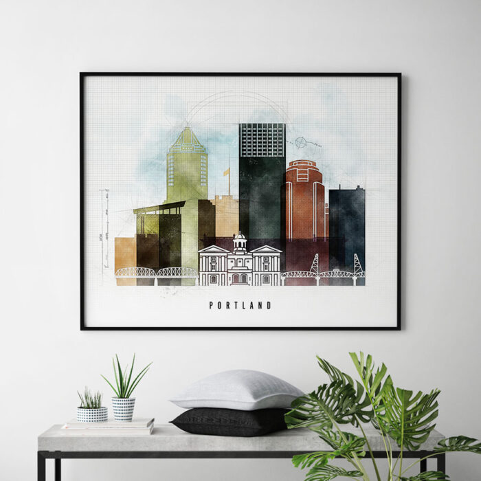 Portland City Print Urban 2 Landscape Second
