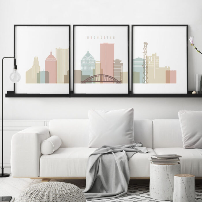 Rochester Ny Set Of 3 Prints Pastel White Second