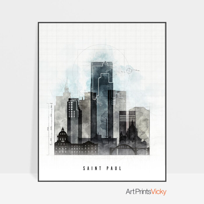 Saint Paul Skyline Print Urban 1