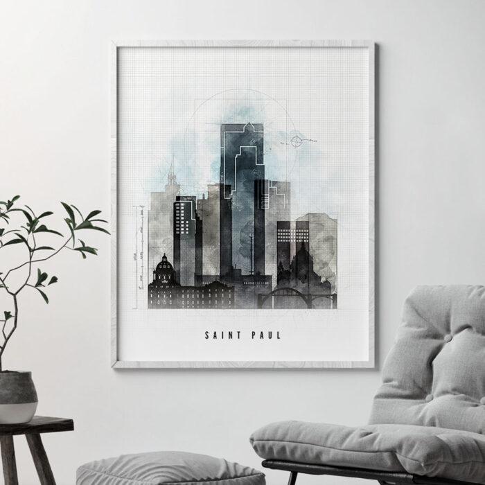 Saint Paul Skyline Print Urban 1 Second