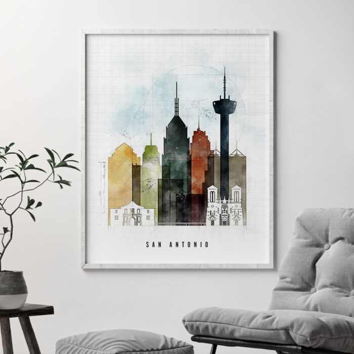 San Antonio Skyline Print Urban 2 Second