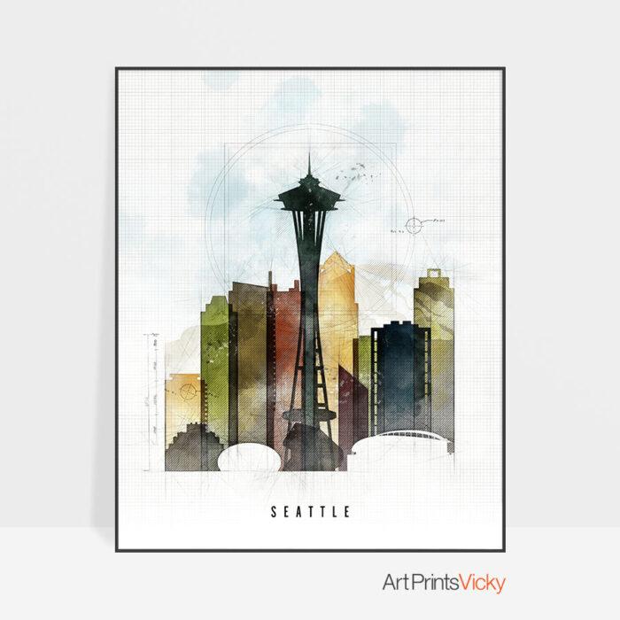 Seattle Skyline Print Urban 2