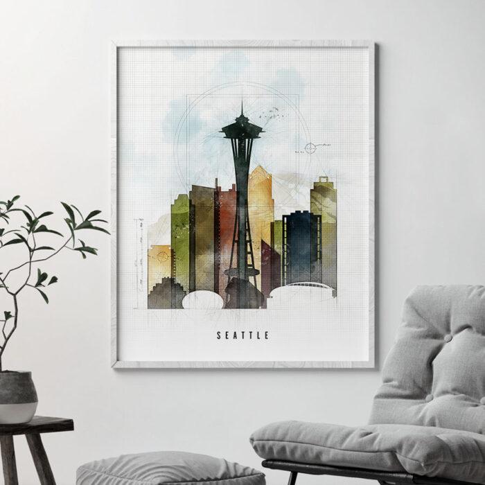 Seattle Skyline Print Urban 2 Second