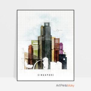 Singapore Skyline Print Urban 2
