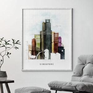 Singapore Skyline Print Urban 2 Second