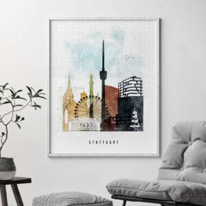 Stuttgart City Print Urban 2 Second