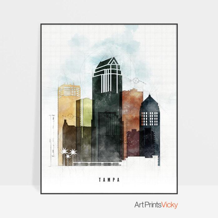Tampa Skyline Print Urban 2