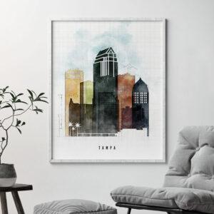 Tampa Skyline Print Urban 2 Second